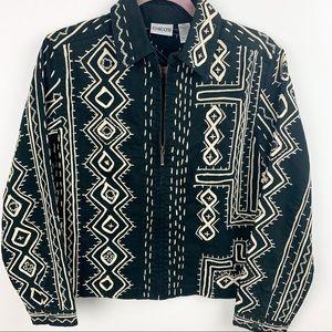 Chico's Tribal Zip Up Jacket, Black, Size S